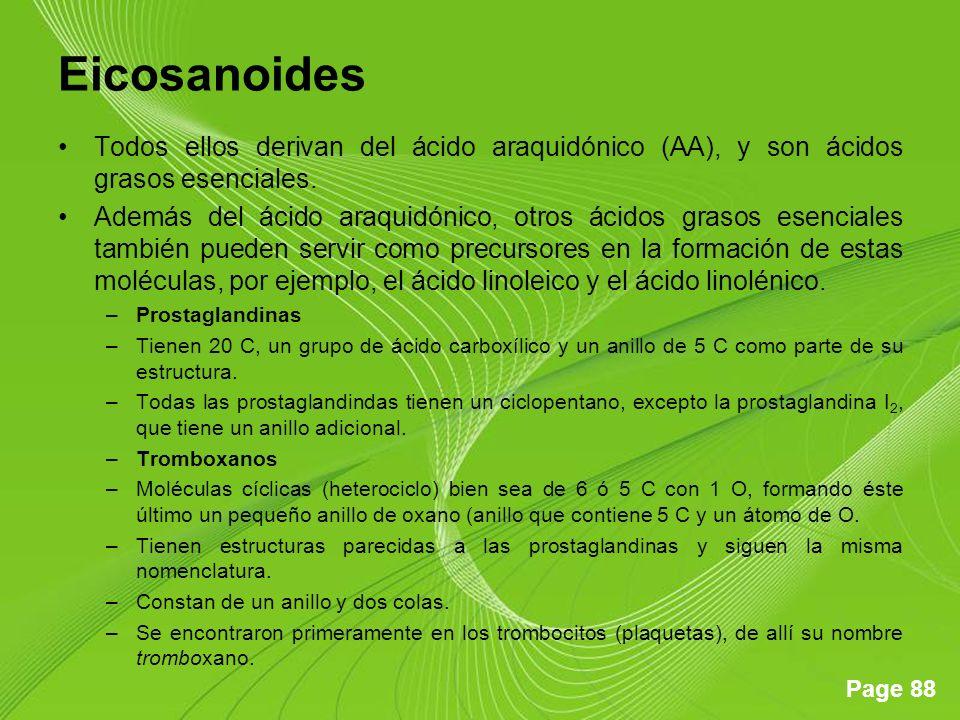 Eicosanoides Todos ellos derivan del ácido araquidónico (AA), y son ácidos grasos esenciales.