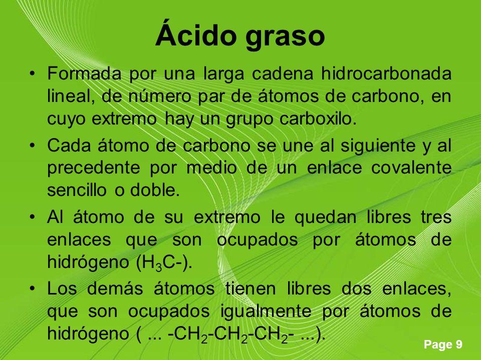 Ácido graso Formada por una larga cadena hidrocarbonada lineal, de número par de átomos de carbono, en cuyo extremo hay un grupo carboxilo.