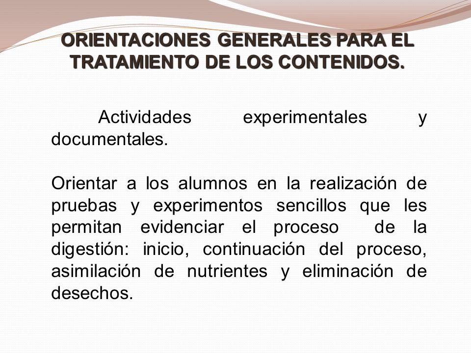 ORIENTACIONES GENERALES PARA EL TRATAMIENTO DE LOS CONTENIDOS.