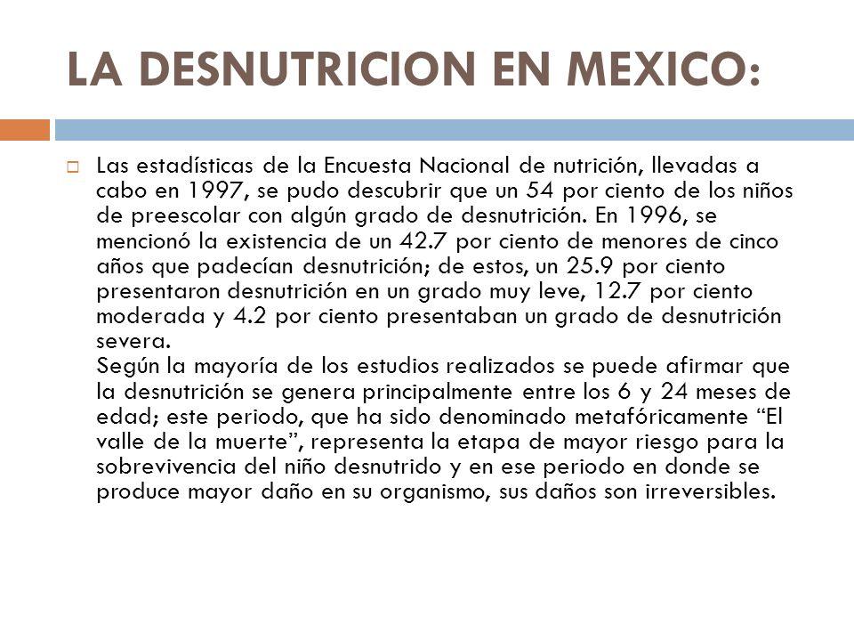 LA DESNUTRICION EN MEXICO: