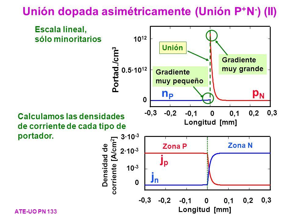 Unión dopada asimétricamente (Unión P+N-) (II)