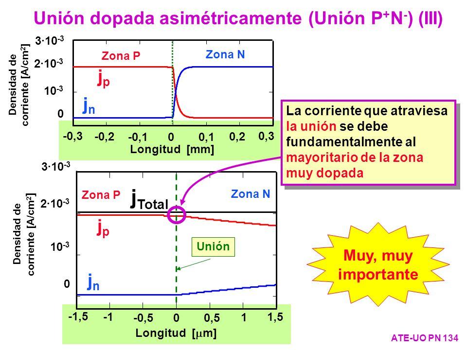 jTotal Unión dopada asimétricamente (Unión P+N-) (III) jp jn jp jn