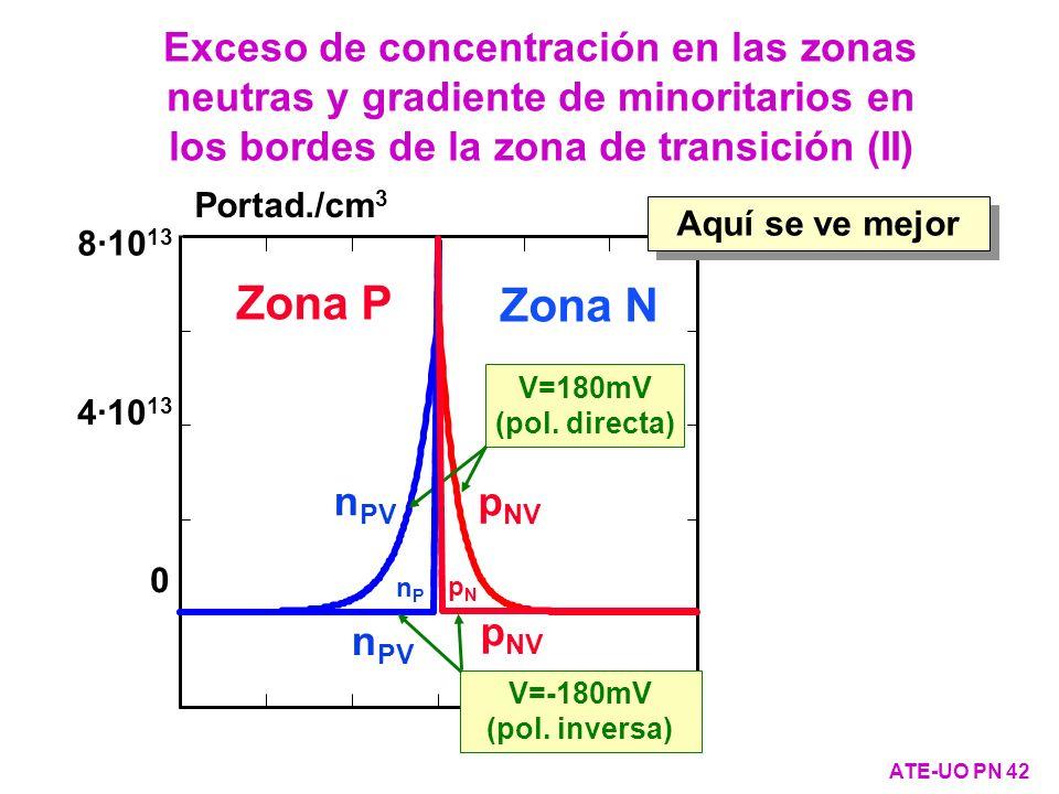 Exceso de concentración en las zonas neutras y gradiente de minoritarios en los bordes de la zona de transición (II)