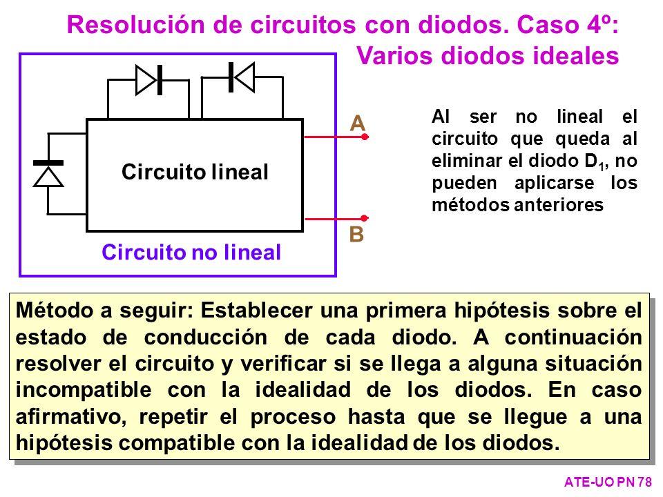 Resolución de circuitos con diodos. Caso 4º: Varios diodos ideales