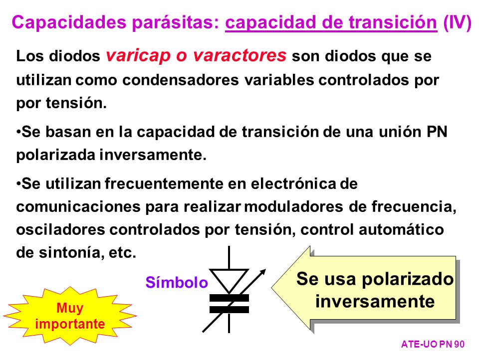 Se usa polarizado inversamente