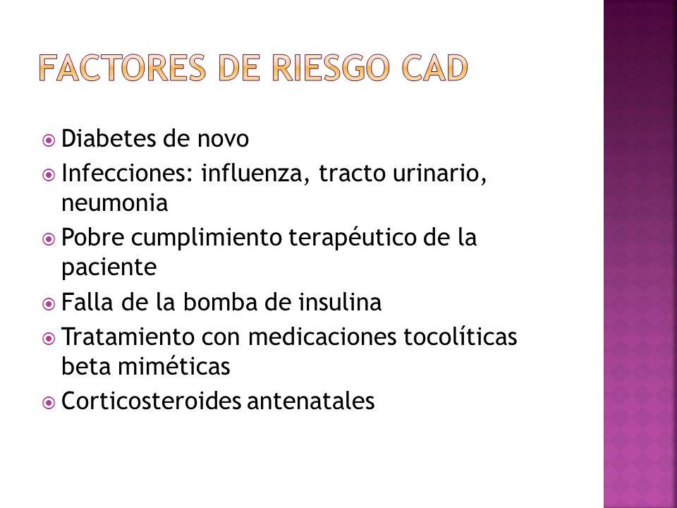 factores de riesgo cad Diabetes de novo