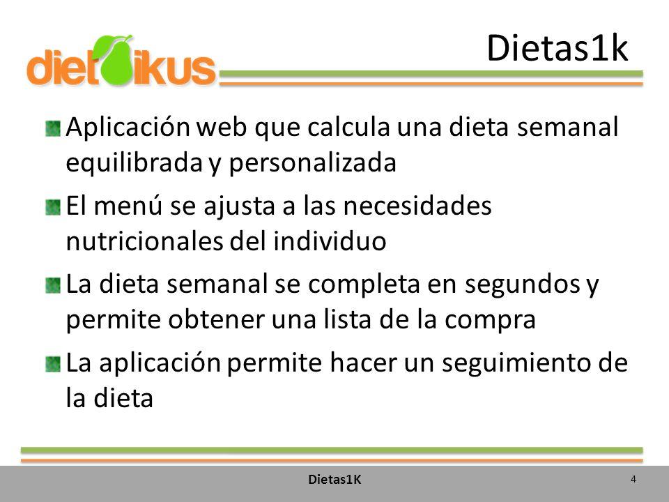 Dietas1k Aplicación web que calcula una dieta semanal equilibrada y personalizada. El menú se ajusta a las necesidades nutricionales del individuo.