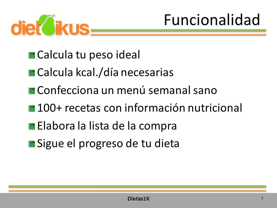 Funcionalidad Calcula tu peso ideal Calcula kcal./día necesarias