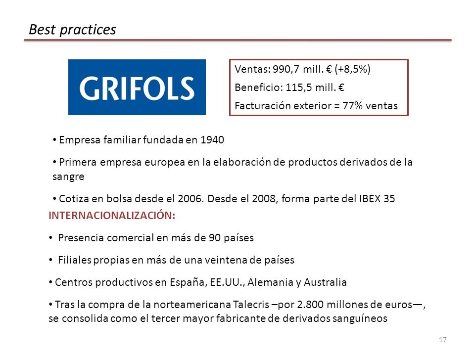 Best practices Ventas: 990,7 mill. € (+8,5%) Beneficio: 115,5 mill. €
