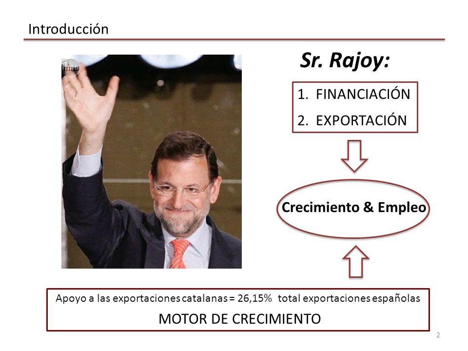Sr. Rajoy: Introducción FINANCIACIÓN EXPORTACIÓN Crecimiento & Empleo