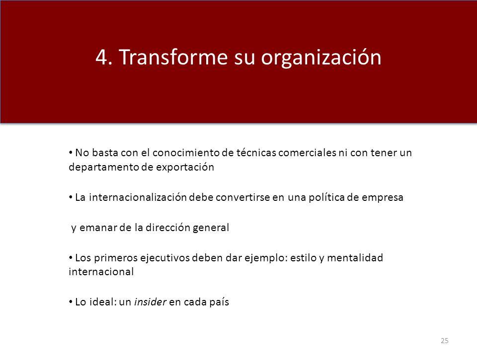 2. Tenga en cuenta las diferencias CAGE 4. Transforme su organización