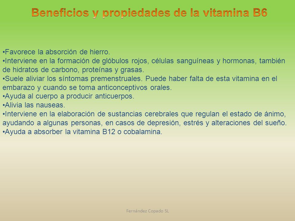 Beneficios y propiedades de la vitamina B6