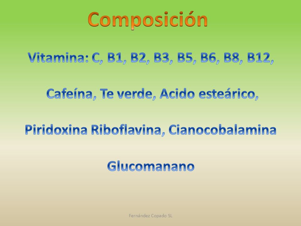Composición Vitamina: C, B1, B2, B3, B5, B6, B8, B12,