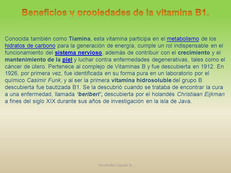 Beneficios y propiedades de la vitamina B1.
