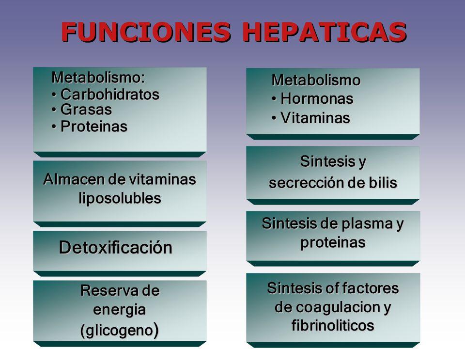 FUNCIONES HEPATICAS Detoxificación Metabolismo: Metabolismo