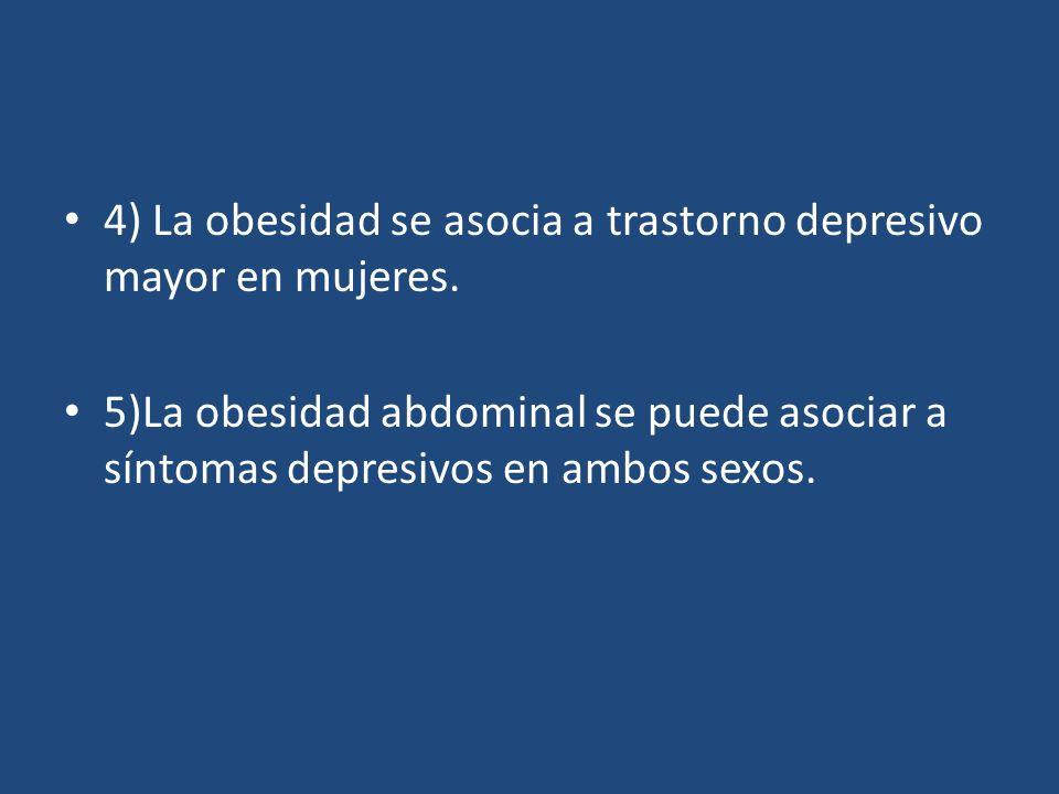 4) La obesidad se asocia a trastorno depresivo mayor en mujeres.