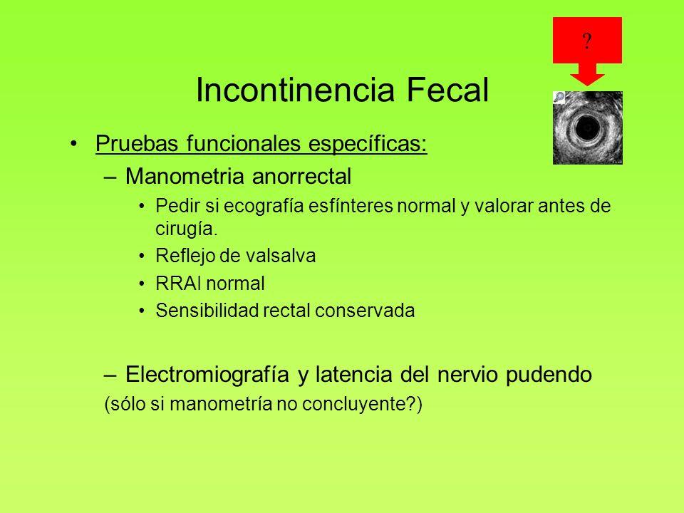 Incontinencia Fecal Pruebas funcionales específicas: