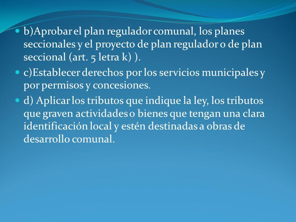 b)Aprobar el plan regulador comunal, los planes seccionales y el proyecto de plan regulador o de plan seccional (art. 5 letra k) ).