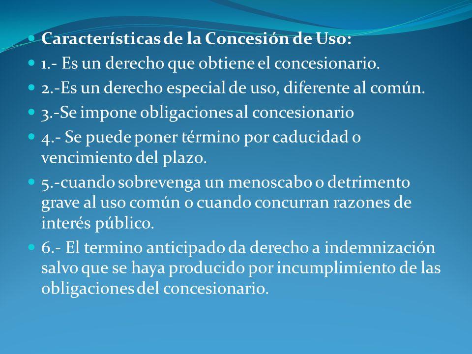 Características de la Concesión de Uso: