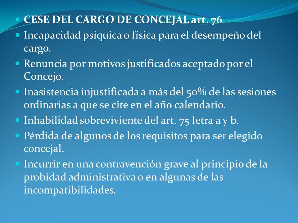 CESE DEL CARGO DE CONCEJAL art. 76