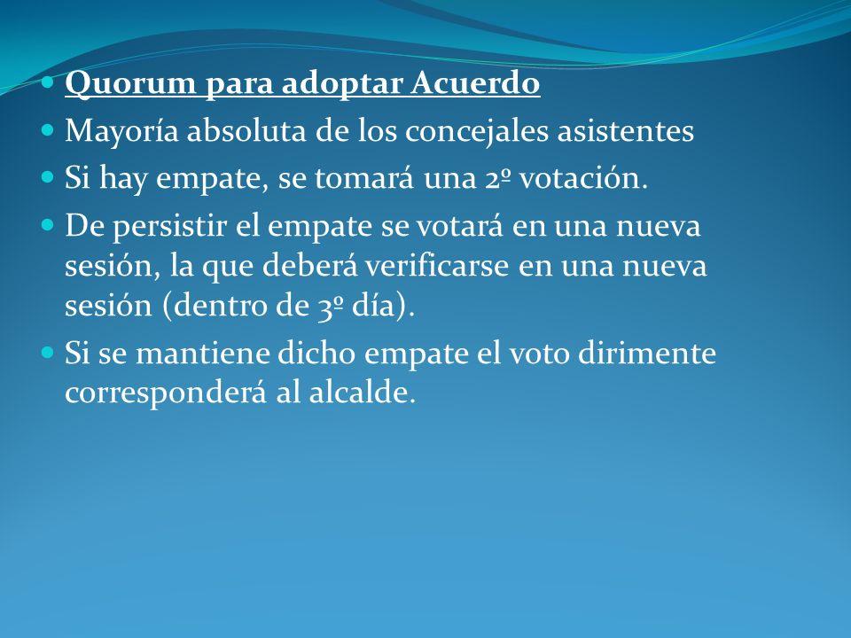 Quorum para adoptar Acuerdo