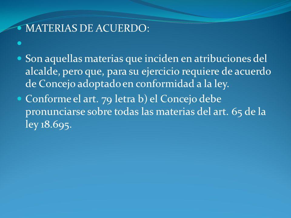 MATERIAS DE ACUERDO: