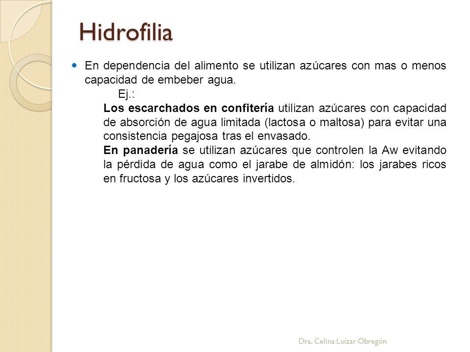 Hidrofilia En dependencia del alimento se utilizan azúcares con mas o menos capacidad de embeber agua.