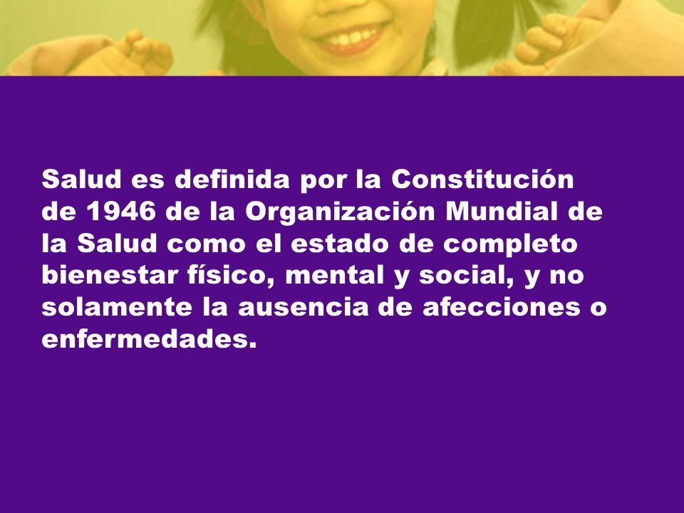 Salud es definida por la Constitución de 1946 de la Organización Mundial de la Salud como el estado de completo bienestar físico, mental y social, y no solamente la ausencia de afecciones o enfermedades.