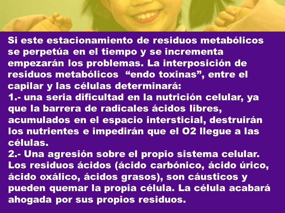 Si este estacionamiento de residuos metabólicos se perpetúa en el tiempo y se incrementa empezarán los problemas. La interposición de residuos metabólicos endo toxinas , entre el capilar y las células determinará:
