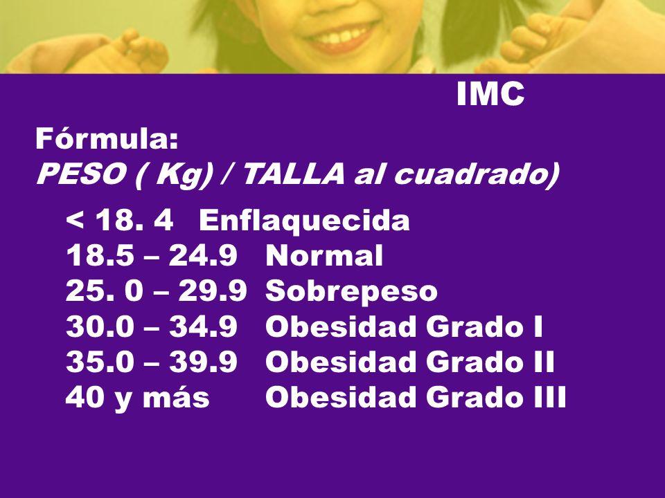 IMC Fórmula: PESO ( Kg) / TALLA al cuadrado) < 18. 4 Enflaquecida