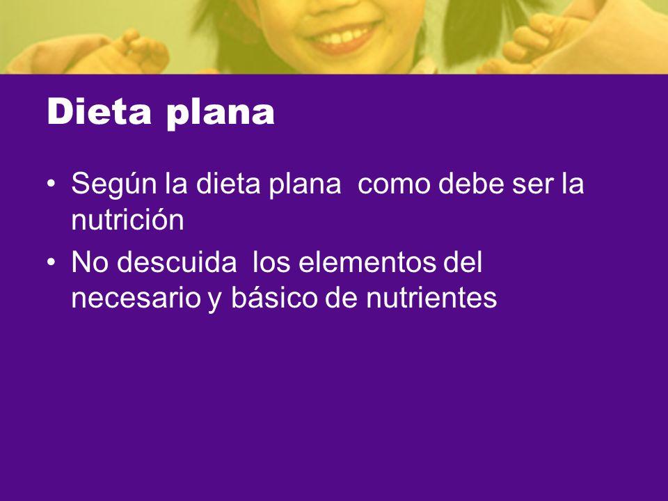 Dieta plana Según la dieta plana como debe ser la nutrición
