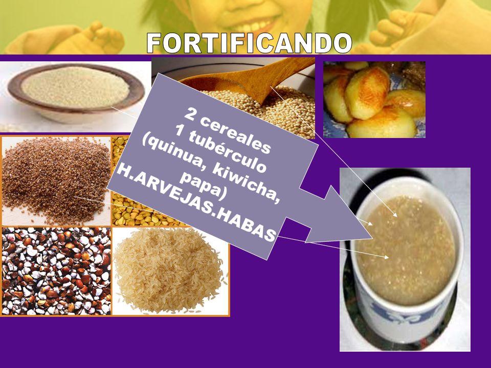 FORTIFICANDO 2 cereales 1 tubérculo (quinua, kiwicha, H.ARVEJAS.HABAS