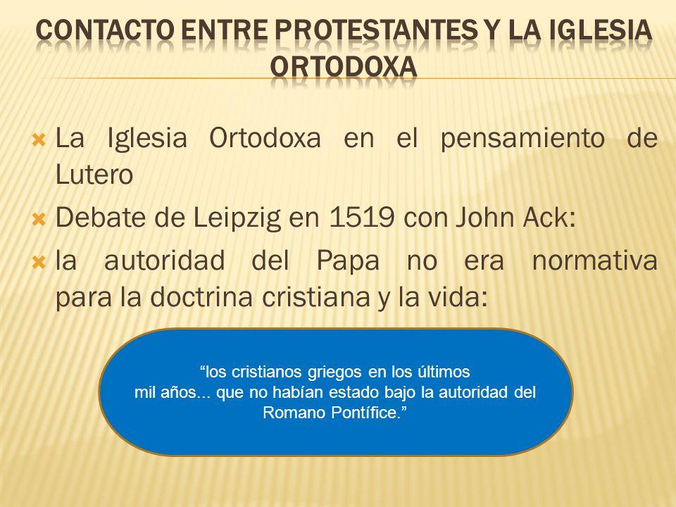 Contacto entre protestantes y la Iglesia Ortodoxa