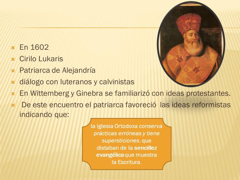 Patriarca de Alejandría diálogo con luteranos y calvinistas