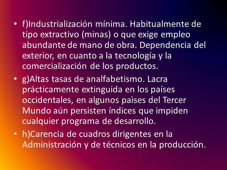 f)Industrialización mínima