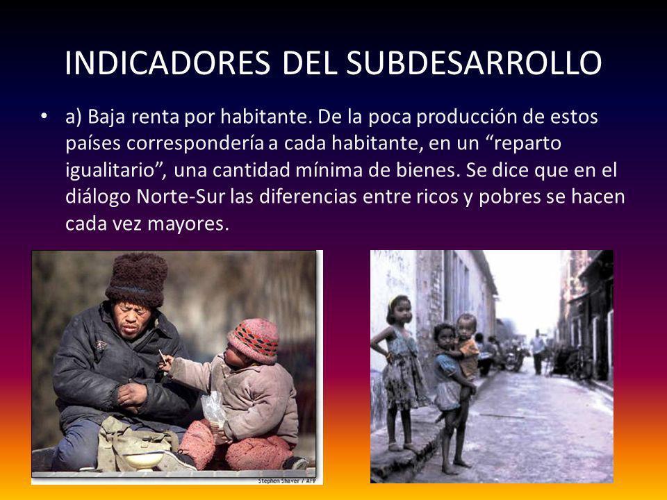 INDICADORES DEL SUBDESARROLLO