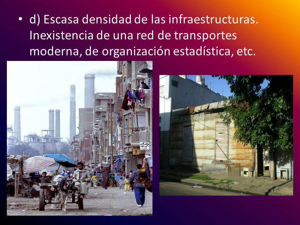d) Escasa densidad de las infraestructuras