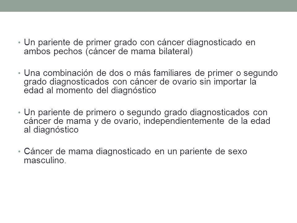 Un pariente de primer grado con cáncer diagnosticado en ambos pechos (cáncer de mama bilateral)