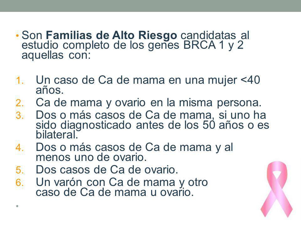 Son Familias de Alto Riesgo candidatas al estudio completo de los genes BRCA 1 y 2 aquellas con: