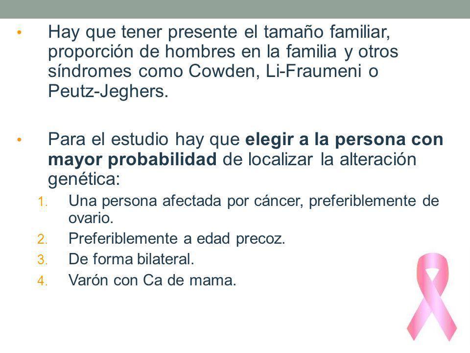 Hay que tener presente el tamaño familiar, proporción de hombres en la familia y otros síndromes como Cowden, Li-Fraumeni o Peutz-Jeghers.