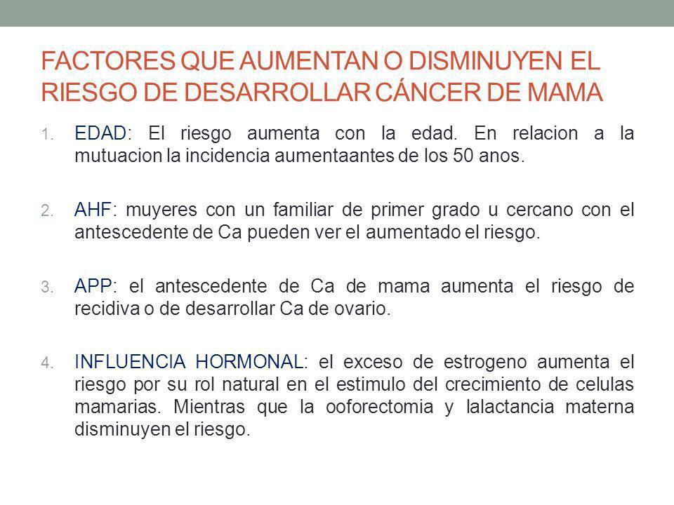 FACTORES QUE AUMENTAN O DISMINUYEN EL RIESGO DE DESARROLLAR CÁNCER DE MAMA