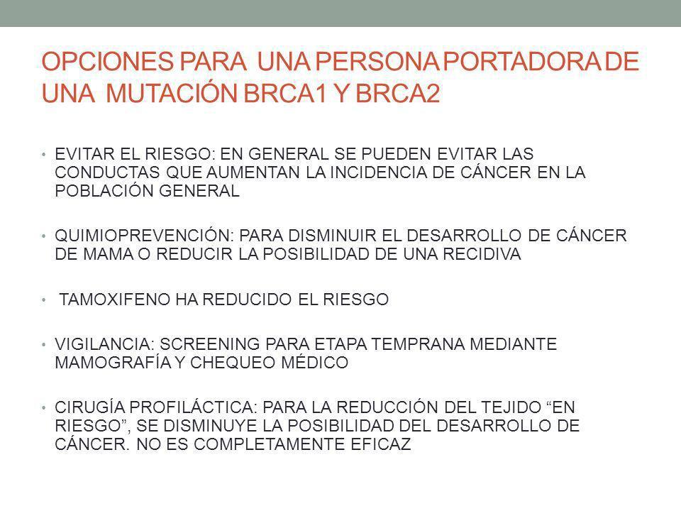 OPCIONES PARA UNA PERSONA PORTADORA DE UNA MUTACIÓN BRCA1 Y BRCA2