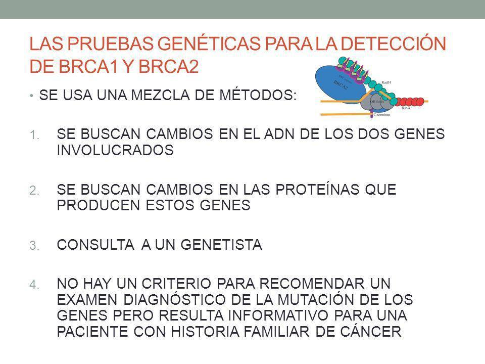 LAS PRUEBAS GENÉTICAS PARA LA DETECCIÓN DE BRCA1 Y BRCA2