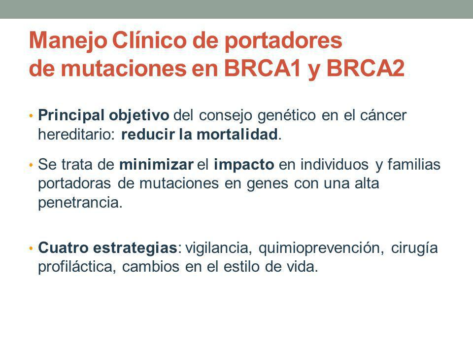 Manejo Clínico de portadores de mutaciones en BRCA1 y BRCA2