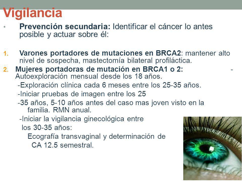 Vigilancia Prevención secundaria: Identificar el cáncer lo antes posible y actuar sobre él: