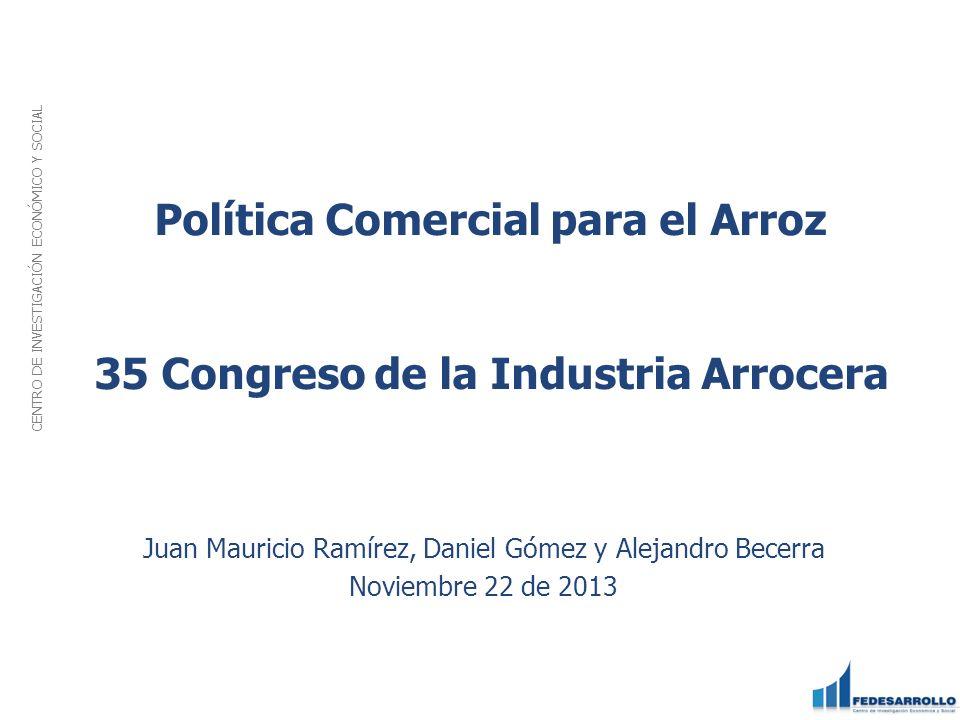 Política Comercial para el Arroz 35 Congreso de la Industria Arrocera
