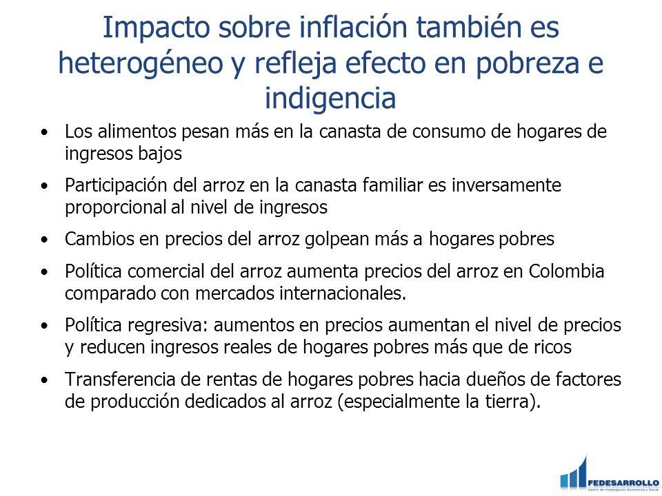 Impacto sobre inflación también es heterogéneo y refleja efecto en pobreza e indigencia