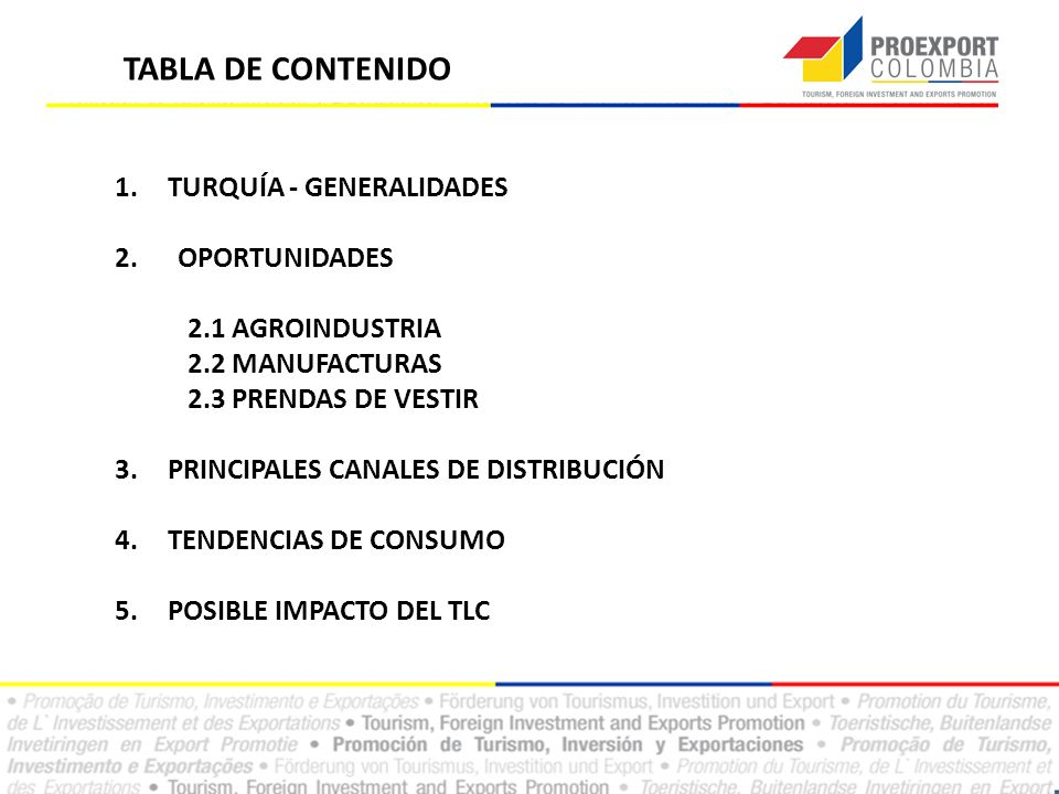TABLA DE CONTENIDO TURQUÍA - GENERALIDADES 2. OPORTUNIDADES