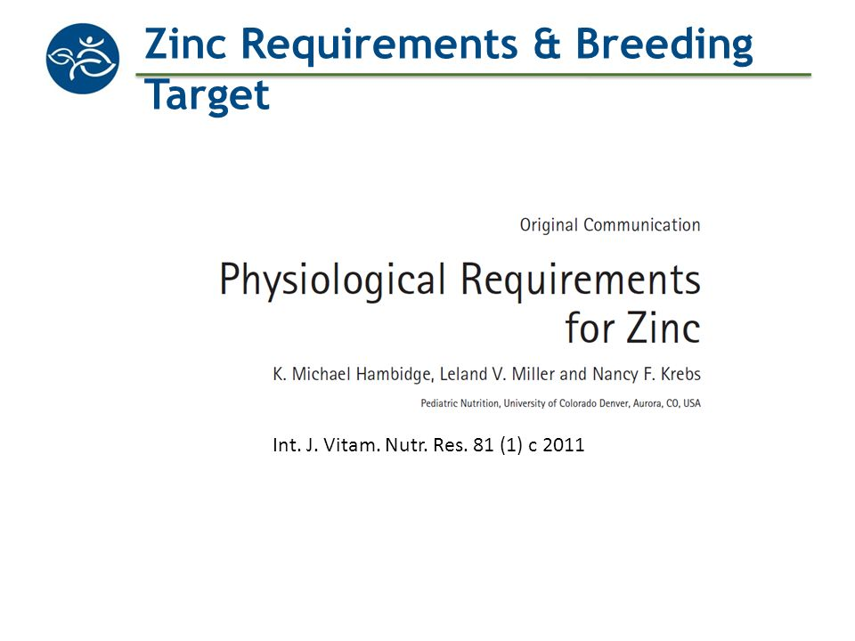 Zinc Requirements & Breeding Target
