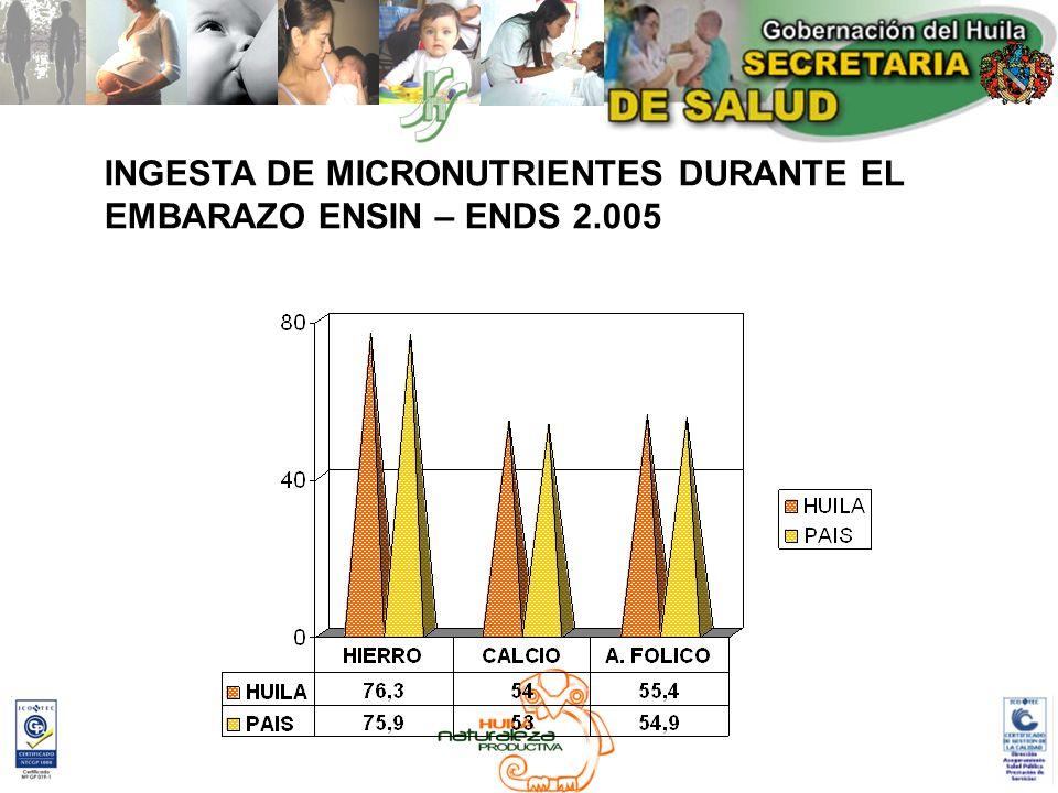 INGESTA DE MICRONUTRIENTES DURANTE EL
